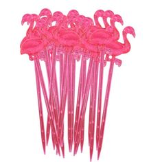 A set of 20 cute and quirky flamingo cocktail sticks.These cocktail sticks are sure to make a fabulous addition to any party. A unique piece of party ware ideal for adorning cakes, sausages, fruit......the list is endless! Ideal for using at both adult (think sticks in olives in a cocktail) and kids parties alike. They are sure to make your guests smile!PlasticEach pack contains 20 cocktail sticks, each stick measures 8cm.