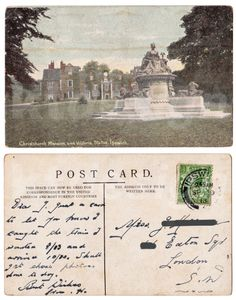 Christchurch Mansion and Victoria Statue, Ipswich. Postcard stamp dated 29 September 1913, sent from my Great Grandfather to my Great Grandmother - just a card to let her know he caught the train he wanted and arrived at 10.30.