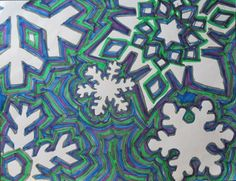 COULD USE MUSIC NOTE STENCILS: Looks like pre-cut snowflakes glued down or stencils drawn on white paper, they just did parallel lines around it in cool colors. Winter Art Projects, School Art Projects, Elementary Art Lesson Plans, Art Sub Plans, 7th Grade Art, Art Classroom, Art Plastique, Art Activities, Teaching Art