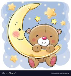 Teddy Bear on the moon. Cute Cartoon Teddy Bear on the moon royalty free illustration Buy Teddy Bear, Teddy Bear Cartoon, Cute Teddy Bears, Tatty Teddy, Teddy Bear Drawing, Teddy Bear Images, Cute Cartoon Girl, Baby Painting, Shower Bebe