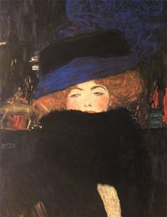 Lady with hat and feather - Gustav Klimt was an Austrian symbolist painter and one of the most prominent members of the Vienna Secession movement. Klimt is noted for his paintings, murals, sketches, and other objets d'art. Art Klimt, Pics Art, Love Art, Oeuvre D'art, Art History, Art Nouveau, Art Photography, Art Gallery, Illustration Art