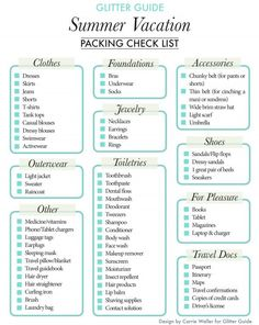 Vacation Packing Checklist Glitter Guide Summer Packing List // Let's go on a vacation!Glitter Guide Summer Packing List // Let's go on a vacation! Vacation Packing Checklist, Summer Vacation Packing, Packing List For Travel, New Travel, Packing Tips, Travel Tips, Travel Hacks, Summer Vacations, Travel Style