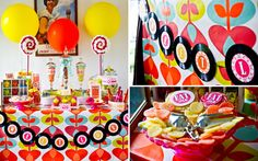 wow color. amy atlas 70's inspired dessert table