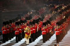 A British military marching band performs Blur song Parklife during the Closing Ceremony