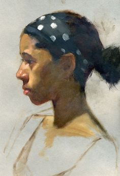 """Polka Dots"" - Gregory Mortenson, oil on paper {contemporary figurative artist african-american female head scarf woman face profile portrait cropped painting}"