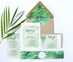 tropical wedding invitations- Tropical Wedding Invitations - an in depth anaylsis on what works and what does not Whenever someone speaks during your wedding, make sure they reh. Destination Wedding Invitations, Wedding Invitation Suite, Wedding Stationary, Invitation Design, Destination Weddings, Palm Wedding, Botanical Wedding, Wedding Save The Dates, Island Weddings