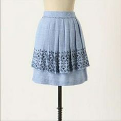 ! Anthropologie Skirt!! Pleated and Tiered light blue skirt by Odille. Excellent condition. Size 10, but runs very small (this brand always seems to). I wear a 6 and it fits me a little snug, so I'd say it's a 4/6. Fully lined with pockets. Linen/cotton blend. Machine wash. It's0 Anthropologie Skirts