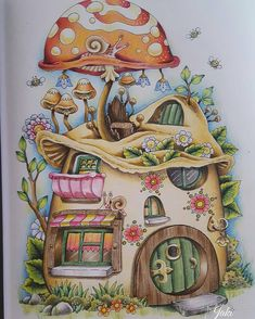 Nice Little Town 4 Tanya Bogema (Stolova) House Colouring Pages, Coloring Book Art, Cute Coloring Pages, Adult Coloring, Illustration Photo, Illustrations, Mushroom Art, Color Pencil Art, Fairy Art