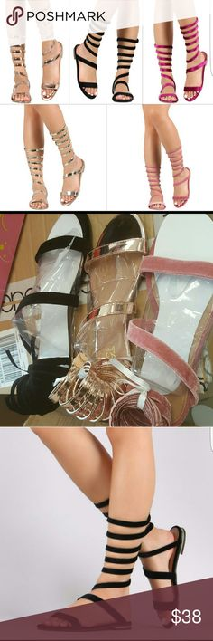 Coil spiral ankle sandal Sexi and comfy...available in black...rose gold and mauve...comment your size Shoes Sandals