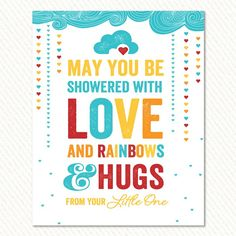 Retro Rainbow Baby Shower Party Sign   Hostess Ink