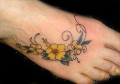 Flowers tattoo, Foot Tattoo tattoo, Tattoo tattoo, Maui tattoo, Lahaina tattoo, Hawaii tattoo - Flower tattoos gallery