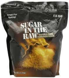 """Sugar In The Raw Turbinado Sugar, 6-Pound by Sugar in the Raw/ Turbinado sugar is a type of relatively unprocessed cane sugar, unrefined and crystallized through evaporation. The crystals tend to be large and have an off-white color. Sugar in the Raw is this type of sugar and you may have seen it at coffee shops, even if you haven't noticed the name """"turbinado"""" before. It works in place of plain sugar in just about all recipes."""