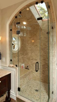 I love this bathroom! The windows and bench seat are great!