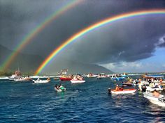 DOUBLE RAINBOW AT BILLABONG PRO IN TEAHUPO'O