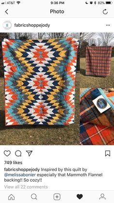 With flannel plaid backing Quilting Projects, Quilting Designs, Sewing Projects, Southwestern Quilts, Picnic Quilt, Cute Quilts, Barn Quilts, Quilt Patterns Free, Quilt Blocks