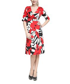 Take a look at the Red Floral Surplice Empire-Waist Dress on #zulily today!