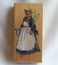 Joanne-West-Felicity-Cat-Rubber-Stamp-K7007-Guardian-Angel-Wings-Gardening