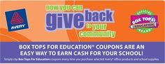 Earn money for your school by purchasing Avery products and saving the Box Tops For Education coupons.