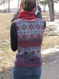 Beatiful vest in Kauni Yarn  Ravelry: Trellis Waistcoat pattern by Elizabeth McCarten