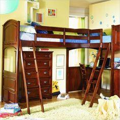 Lea Deer Run L-Shaped Wood Bi-Loft Bunk Bed