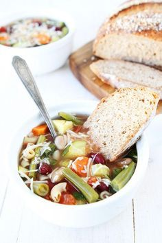 Slow Cooker Minestrone Soup Recipe | via Two Peas and Their Pod