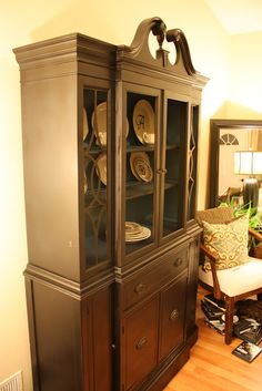 Fearfully & Wonderfully Made: Living Room Updates: Spray Painted China Cabinet Makeover