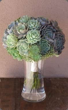 an all-succulent arrangement--in LOVE w/ succulents...maybe for a Cali wedding!