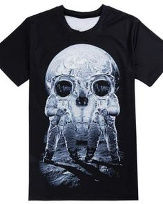 6ca935580 3D tshirt for men space astronaut skull black tee Skull Tank Tops,  Astronauts In Space