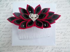 Black+and+Red+Kanzashi+Satin+Flower+Hair+Comb+by+AngelPetals,+$14.00