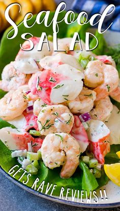 This seafood salad is a blend of imitation crab and shrimp in a creamy dill dressing with fresh vegetables. Great Salad Recipes, Sea Food Salad Recipes, Shrimp Salad Recipes, Easy Appetizer Recipes, Seafood Recipes, Healthy Recipes, Seafood Appetizers, Crab Salad, Seafood Salad