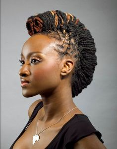 Mohawk hairstyles for black women; have a fun day with the latest Mohawk hairstyles for black women. Hottest & trendy Mohawk hairstyles for African American women Short Hair Mohawk, Mohawk Hairstyles For Women, Mohawk Updo, Shaved Side Hairstyles, New Natural Hairstyles, Dreadlock Hairstyles, African Hairstyles, Braided Hairstyles, Natural Hair Styles