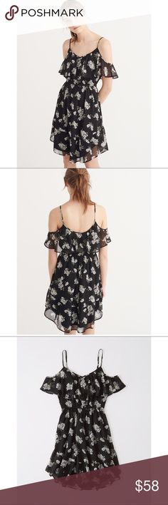New cold shoulder black floral dress New lightweight black floral dress featuring cold shoulder cutouts, elastic waist and adjustable straps. Body and lining 100% polyester. Abercrombie & Fitch Dresses Mini