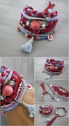 Boho Chic Bracelet Pink Blue Fuchsia Lilac by vanessahandmade