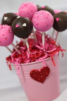 1 Dozen Valentine's Day Love Themed Cake Pop Basket- Eclectic Cake Company