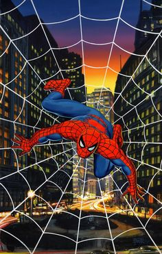 #Spiderman #Fan #Art. (Spider-Man Painted Cover) By: Bob Larkin. (THE * 5 * STÅR * ÅWARD * OF * MAJOR ÅWESOMENESS!!!™) [THANK U 4 PINNING!!!<·><]