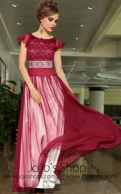 Modest Red Jewel Neck Short Sleeves Formal Prom Evening Cocktail Dress DQ830887