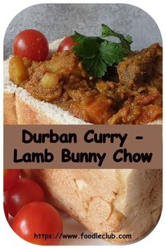 An authentic South African street food – spicy lamb curry served in … Bunny chow. An authentic South African street food – spicy lamb curry served in half a loaf of bread. No rabbits were harmed in the making of this recipe! South African Dishes, South African Recipes, Indian Food Recipes, South African Bunny Chow, South African Braai, Africa Recipes, Braai Recipes, Cooking Recipes, Salted Caramel Fudge