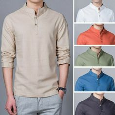 Summer Mens Plus Size Chinese Style Linen Breathable Short sleeved Stand Collar T Shirts on sale-NewChic Casual Tops, Casual Shirts For Men, Men Casual, Stand Collar Shirt, Collar Shirts, Chemise Fashion, Shirt Style, Long Sleeve Shirts, Chinese Style