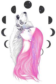 """Moon Daze"" by Andrea Hrnjak Animal Drawings, Cute Drawings, Wolf Drawings, Art Et Design, Wolf Spirit Animal, Wolf Love, Wolf Tattoos, Fantasy Creatures, Female Art"