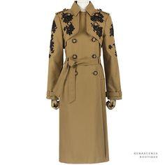 Erdem Caramel Brown Black Leta Lace-Appliquéd Belted Twill Trench Coat UK10 IT42 | eBay