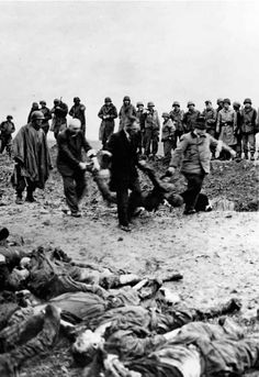 APR  13 1945 Gardelegen: concentration camp prisoners burnt alive - See more at: http://ww2today.com/Local residents remove bodies from the mass grave.