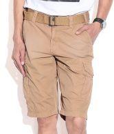 Celio Brown Cotton Solid Shorts