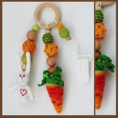 Слингобусы Заяц с Морковкой. Классная игрушка-грызунок для вашего малыша! Можжевеловые бусины и бусины обвязанные нитками х/б. с удобным креплением.  Для Вас 1200 руб.