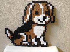 Puppy Perler by Birdseednerd on DeviantArt Easy Perler Bead Patterns, Melty Bead Patterns, Perler Bead Templates, Diy Perler Beads, Perler Bead Art, Pearler Beads, Fuse Beads, Beading Patterns, Pixel Art