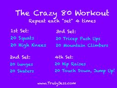 Repeat each sets 4 times. Enjoy:)