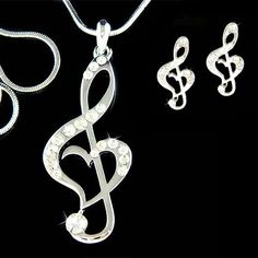Swarovski Crystal TREBLE G CLEF Love Music Musical Note by Kashuen, $78.00