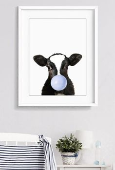 Baby Cow with blue bubble gum Print. Farmland Animal Print, Nursery Wall Prints, Kids Gifts, Baby Shower Gift, Baby Animal Art,