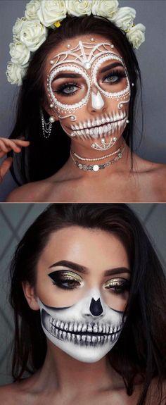 Amazing Halloween half skull makeup look ideas! Half Face Halloween Makeup, Half Skull Makeup, Half Face Makeup, Unique Halloween Makeup, Halloween Makeup Sugar Skull, Sugar Skull Makeup, Clown Makeup, Scary Makeup, Sfx Makeup