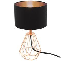 Lampa oprawa stołowa Eglo Carlton 2 1x60W E14 czarna, miedź 95787