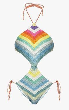 Mara Hoffman prismatic-striped crocheted cutout swimsuit, $200.